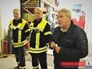 Feuerwehr Ney, Übergabe des Anhägers, von Links Jörg Saathoff (stellv. StBm), Ralf Jürrens (StBm) Rolf Harms (Präsident der Rotarier Norderney)